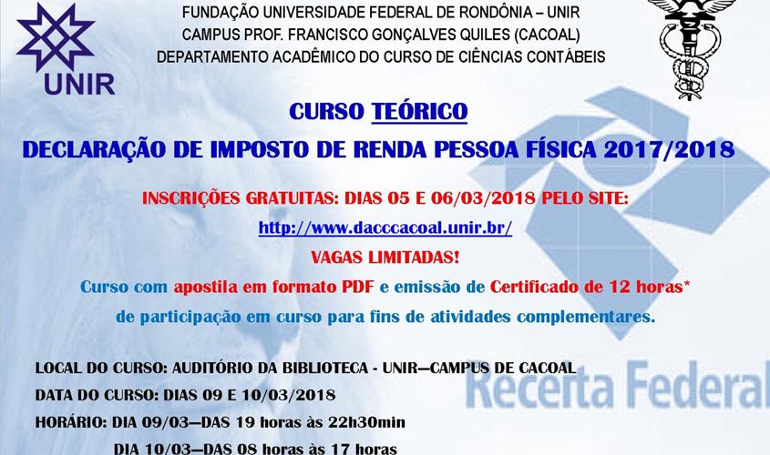 Campus de Cacoal - Departamento de Ciências Contábeis oferta curso sobre declaração de Imposto de Renda