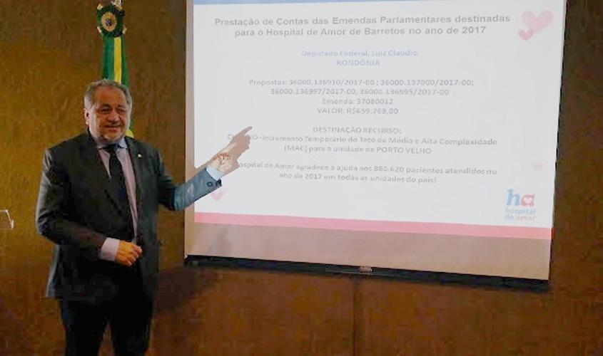 Deputado Luiz Cláudio é homenageado em Brasília pelo Hospital de Amor de Barretos