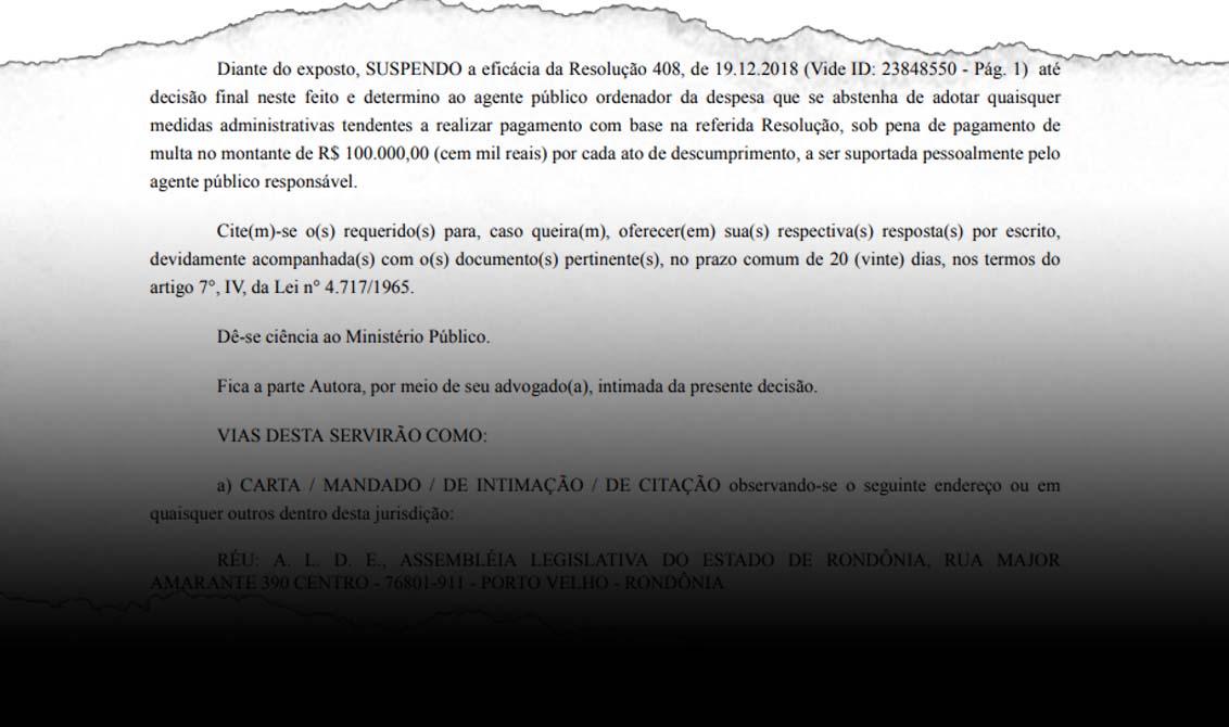 Justiça suspende esquema montado por deputados de Rondônia para receber 14º e 15º salários