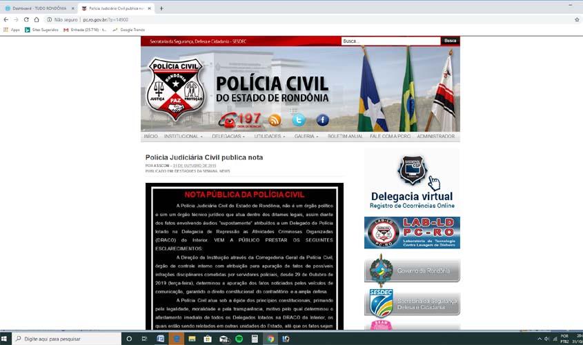 Áudios vazados: Polícia Civil de Rondônia anuncia afastamento de delegados, apuração do caso e pedido ao MP para investigar imprensa
